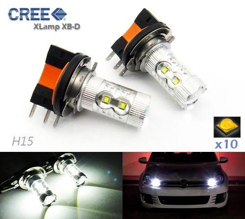 2 Н15 лампы Cree светодиодный 50Вт лампы дневного света Белый VW Гольф МК6 тигуан(CA209)