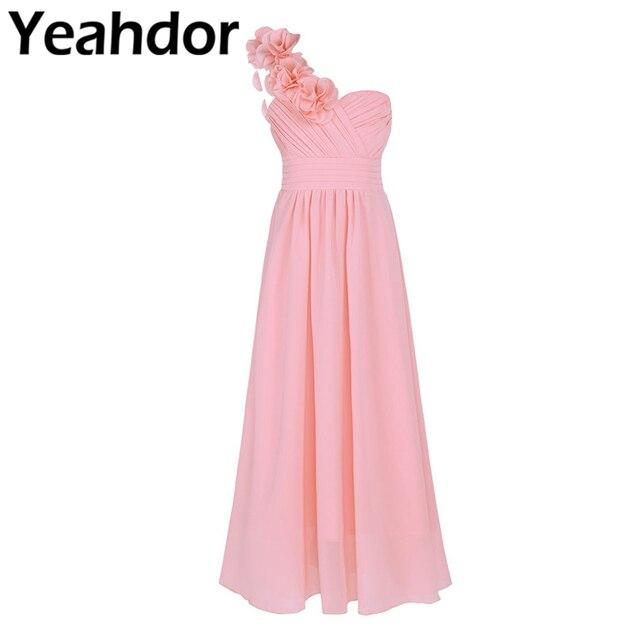 Dziewczyny szyfonowa suknia ślubna jedno na ramię plisowana wysokiej zwężone kwiat dziewczyna sukienka księżniczka piętro długość korowód suknia ślubna