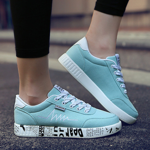 2019 Spring Women Shoes Black Sneakers Women Lace-up Print Casual Shoes Low Top Graffiti Canvas Shoes Woman Flat High Quality Islamabad