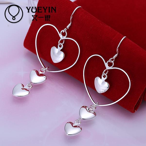 Heart Shape Earrings Wholesale Silver Plated Long Dangle Earrings For Women Wedding Jewelry Anting-anting Ornaments
