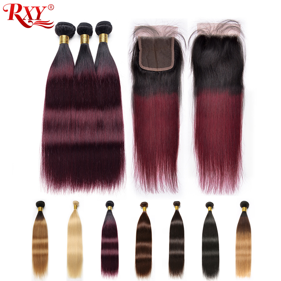 Brazilian Straight Hair Bundles With Closure Ombre 1b 99j 1b 4 27 1b 27 613 Blonde