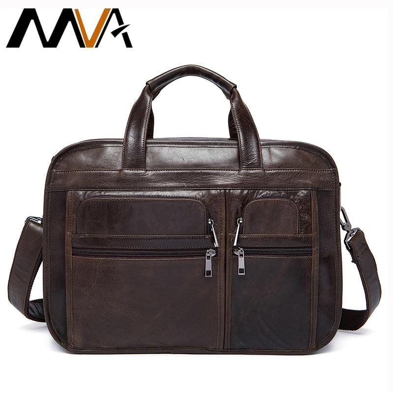 MVA Men's Briefcases Men's Leather Male Man Laptop Bag Business Messenger Bags Men Shoulder Bags Genuine Leather Briefcases
