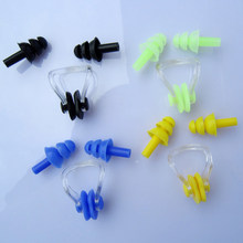 1Set Waterproof Soft Silicone Swimming Set Soft Nose Clip + Ear Plug Earplug Tool Swimming Nose Clip Earplugs(China)