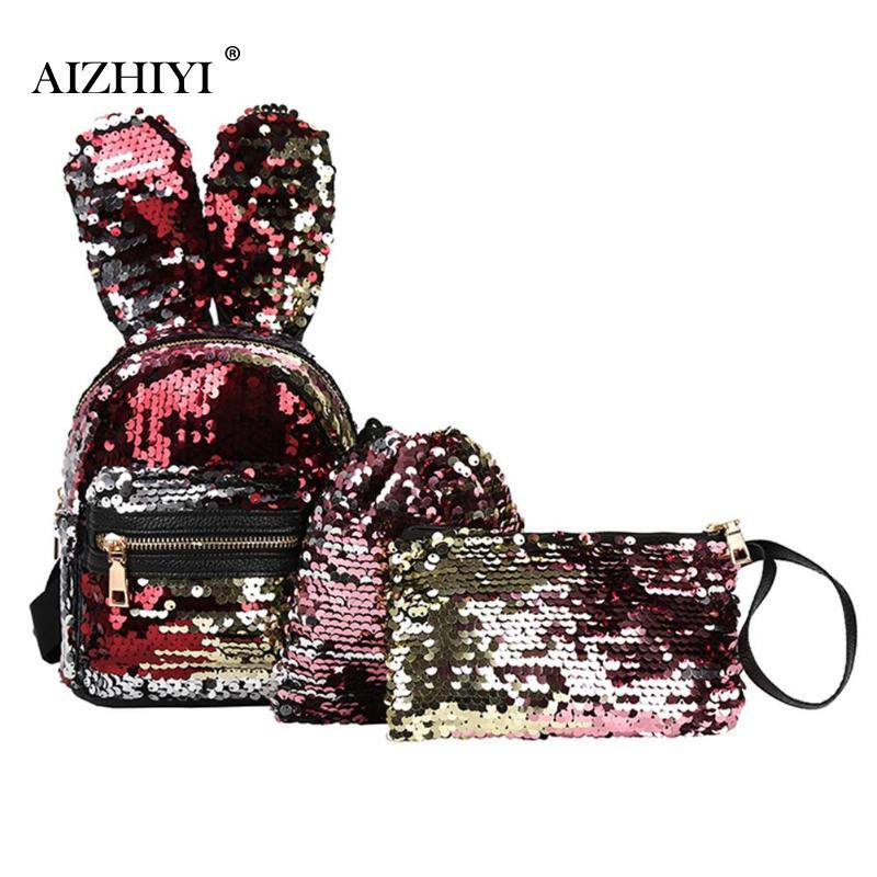 3pcs Set Women Rabbit Ears Sequins Mini Backpack Sequins Bags for Girls Teenage Shoulder School Backpack