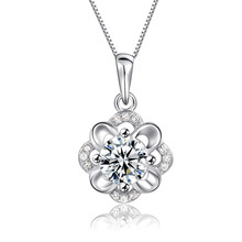 JEXXI Luxurious Pendant Necklace Charm CZ Flower 925 Sterling Silver Women Jewelry Wedding Anniversary Birthday Gifts Jewelry