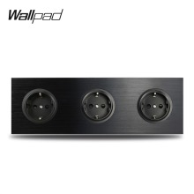 Wallpad L6 Black Aluminum Triple EU Schuko Wall Electrical Power Socket Satin Metal Frame Dual Plate 258 * 86 mm