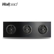 Wallpad L6 Schwarz Aluminium Triple EU Schuko Wand Elektrische Steckdose Satin Metall Rahmen Dual Platte 258*86mm