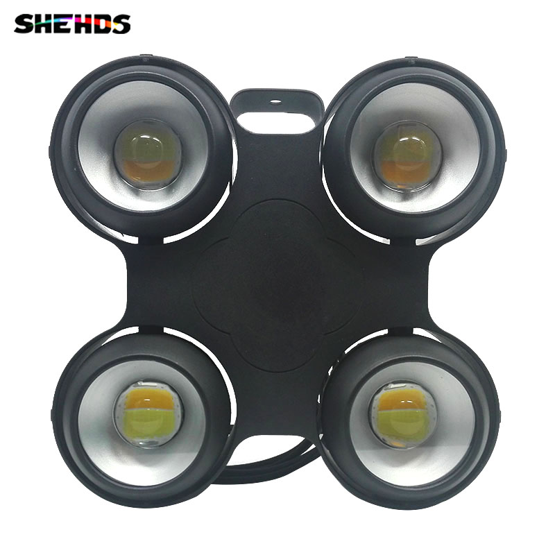 Waterproof LED COB 4x100W Lighting Cool and Warm White 400W COB LED Powerful Audience Stage Light Good Effect Stage Lighting splicing 2 light led blinders with 100w led cob x2 amber cold white color for audience blinding color warm