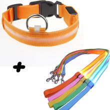 LED Nylon Pet Dog Collar Night Safety Glow Flashing Dog  Collar Led Luminous Small Dogs Collars USB Rechargeable with LED Leash