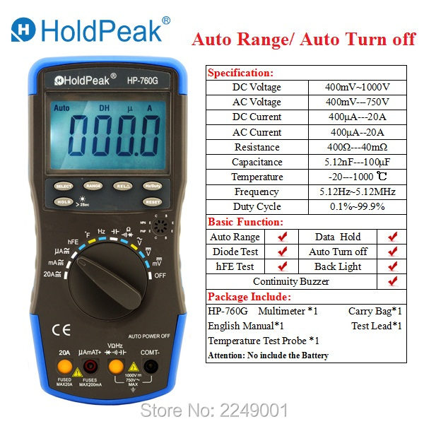 Multimetro HoldPeak HP-760G Auto Range Multimetro Digital Multimeter with Auto Turn Off and Carry Bag holdpeak hp 90k engine analyzer tester auto range car diagnostic tool with data output by usb multimeter multimetro