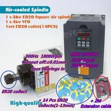 High Quality Square 3kw Air cooled spindle motor ER20 runout off 0.01mm 220V 4 Ceramic bearing & 4KW Inverter VFD 220V