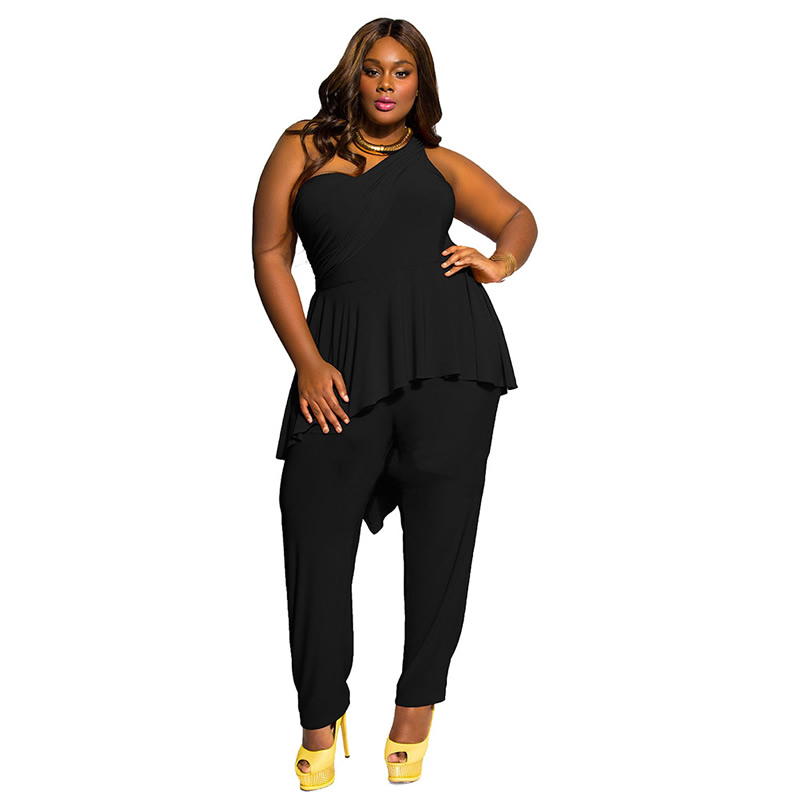 M-3XL Solid Hollow Out Casual New Women One Shoulder Black Plus Size  Jumpsuit Playsuit - Online Buy Wholesale Evening Pants From China Evening Pants