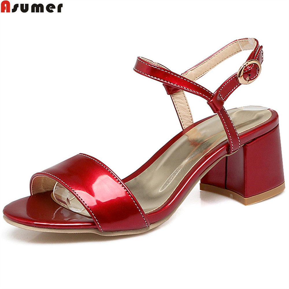 цены ASUMER 2018 fashion new arrival women shoes buckle square heel summer shoes casual high heels sandals plus size 32-48