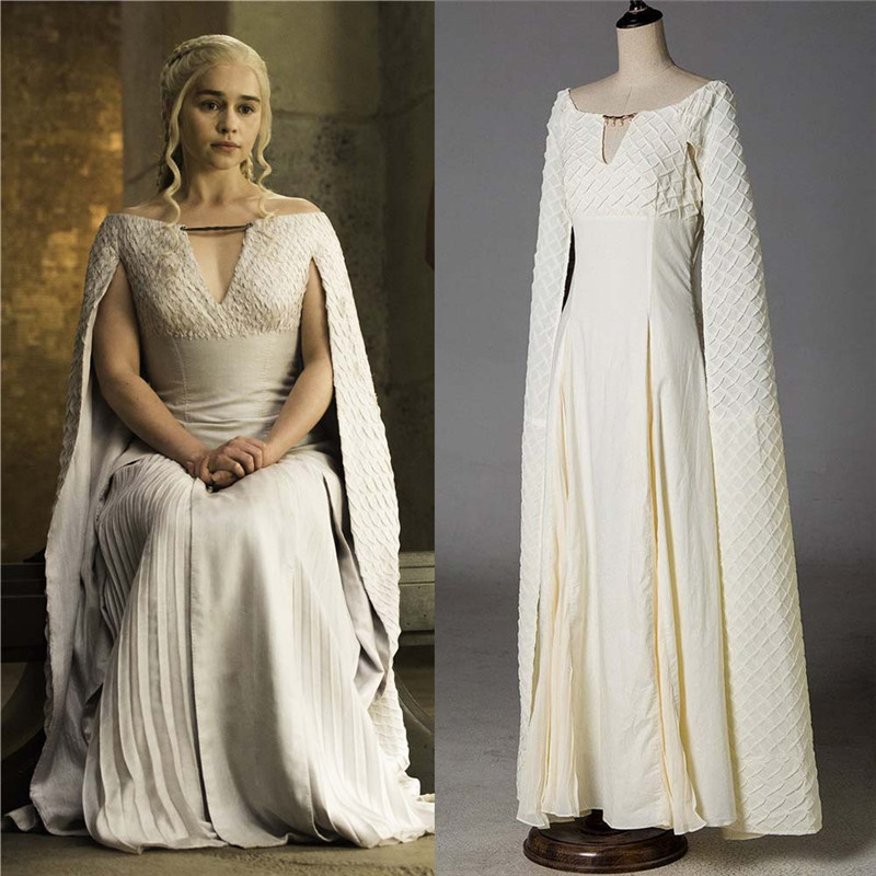 Game of Thrones 5 Daenerys Targaryen Qarth White Dress Cosplay Costumes Long Dress Women Party Halloween Ball Gown Sexy Dresses halloween game of thrones daenerys targaryen qarth dress party cosplay costume and wig