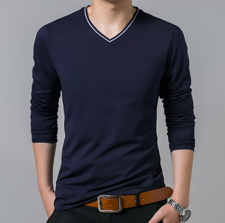 Hot Sale Spring Autumn Fashion T Shirt Long Sleeve Hip Hop Male T-Shirts Solid Slim Plus Size XXXXL Men Top T-shirt Man