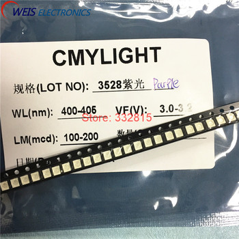 100 piezas 3528 púrpura SMD LED 1210 400-405nm 3,0-3,2 V luz UVLED violeta lámpara cuentas RoHs envío gratis