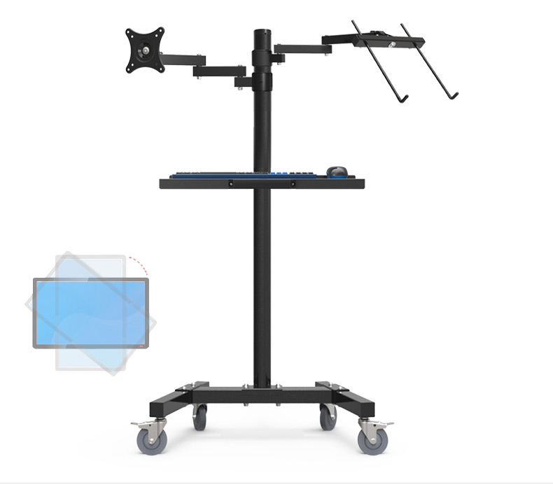 Image 2 - Dual Mount Monitor Holder + Laptop Holder PS Stand Trolley  Sit Stand Work Station Floor Stand Moving Cartmonitor holdermount monitordual monitor holder -