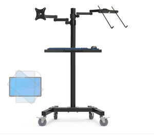 Image 2 - Dual Mount Monitor Holder + Laptop Holder PS Stand Trolley  Sit Stand Work Station Floor Stand Moving Cart