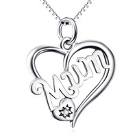 GNX10313 100% Real 925 Sterling Silver Necklaces Charming Beauty Pattern Mum Love Heart Necklace Luxury Sexy Jewelry For Women