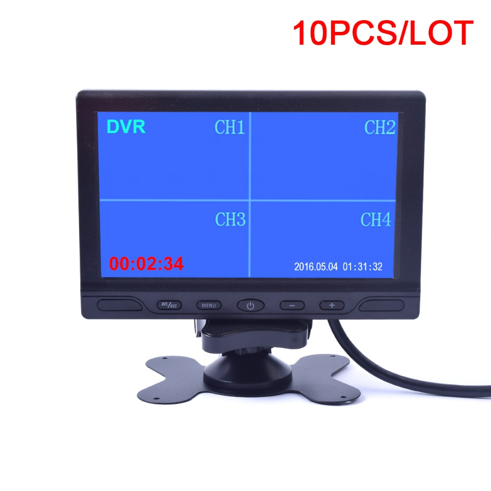 10PCS 7 inch Car Truck Quad Split Monitor with Built-in DVR Video Recording 4 Channels Quad Display RCA Input for Trailer Camper diysecur 4pin dc12v 24v 7 inch 4 split quad lcd screen display rear view video security monitor for car truck bus cctv camera