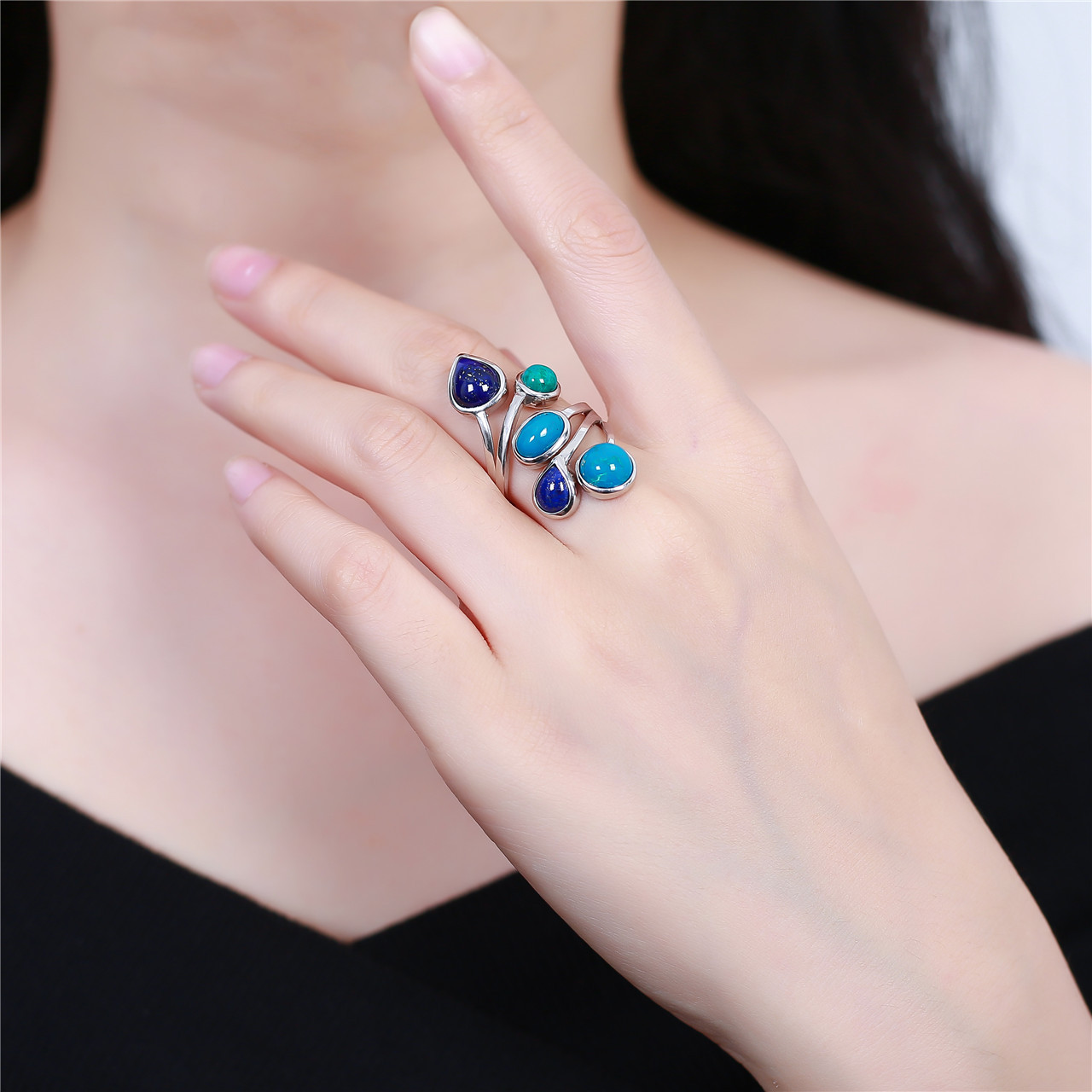 S925 pure silver jewelry fashion and elegant woman phoenix stone collocation lapis ring