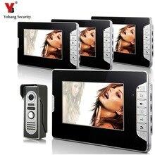 YobangSecurity Video Doorbell 7″Inch Color Video Door Phone Doorbell Intercom Night Vision Home Security Kit 1 Camera 4 Monitor