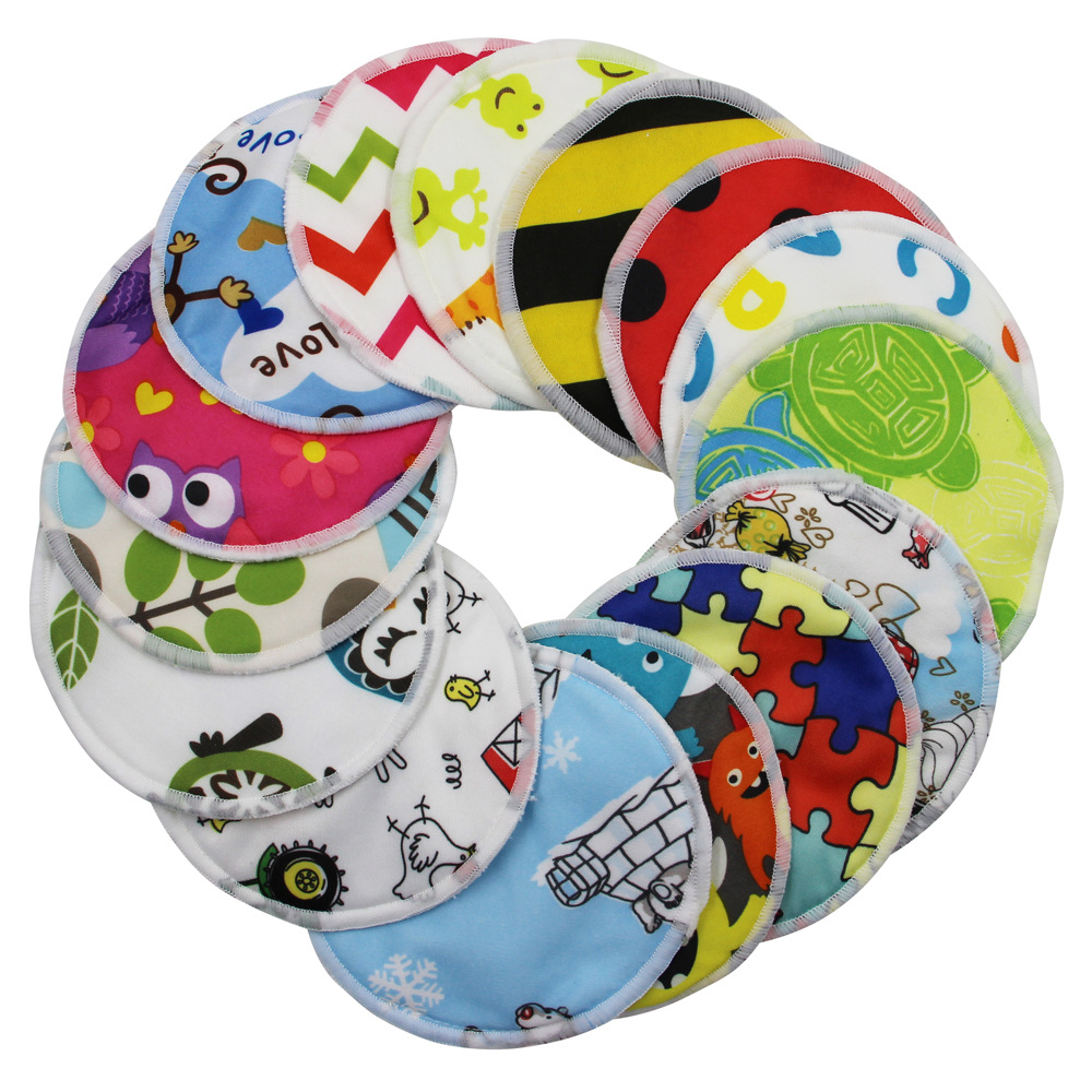 Reusable Cotton Pads Nursing Pads Cartoon Washable 3 Layers Bamboo Fiber Cotton Soft Absorbent Baby Breastfeeding Breast Pads