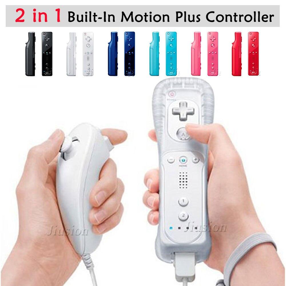 Para Nintendo Wii 2 em 1 Sem Fio Controladores de Controle Remoto Construído em Motion Plus Nunchuck para Gamepad Joystick Acessórios Do Jogo Video