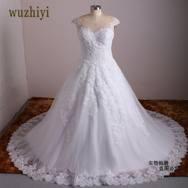 wuzhiyi vestidos de novia plus size lace dress ball gown wedding