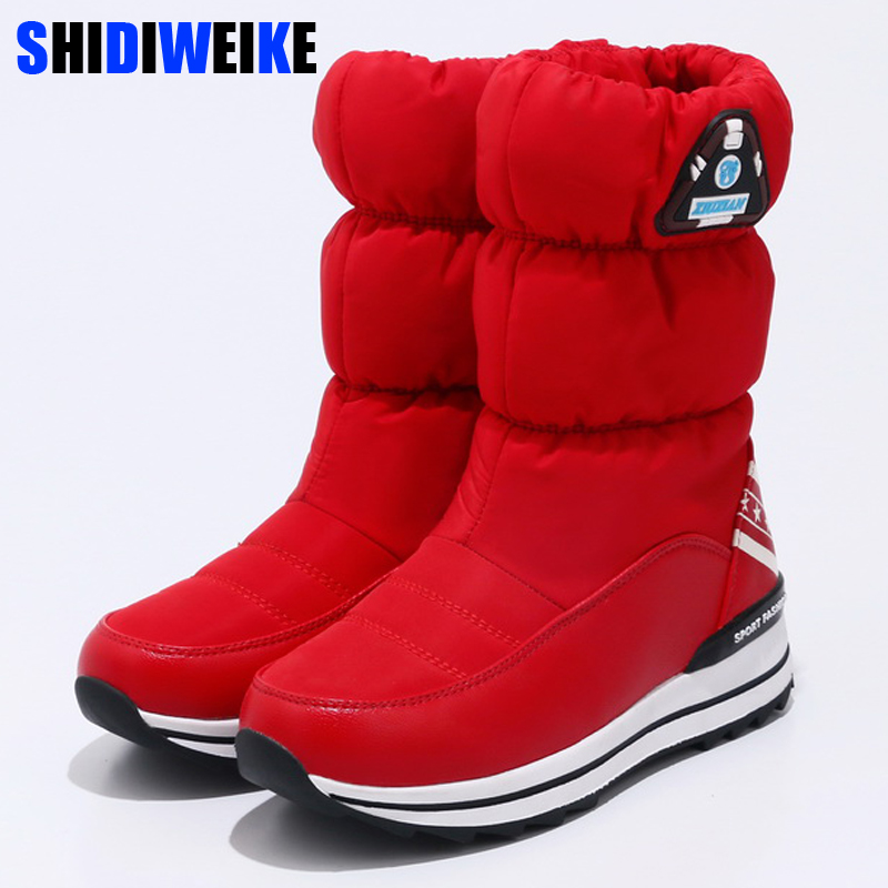 Women boots 2019 new arrivals waterproof thick plush women winter Ankle shoes slip-resistant platform women Slip-On snow boots