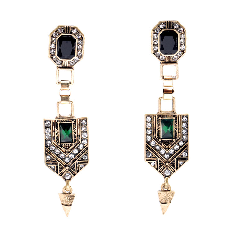 Fashion Mix Women Jewelry Hot Antique Gold Color Color Green Crystal Long Vintage Earrings Free Shipping