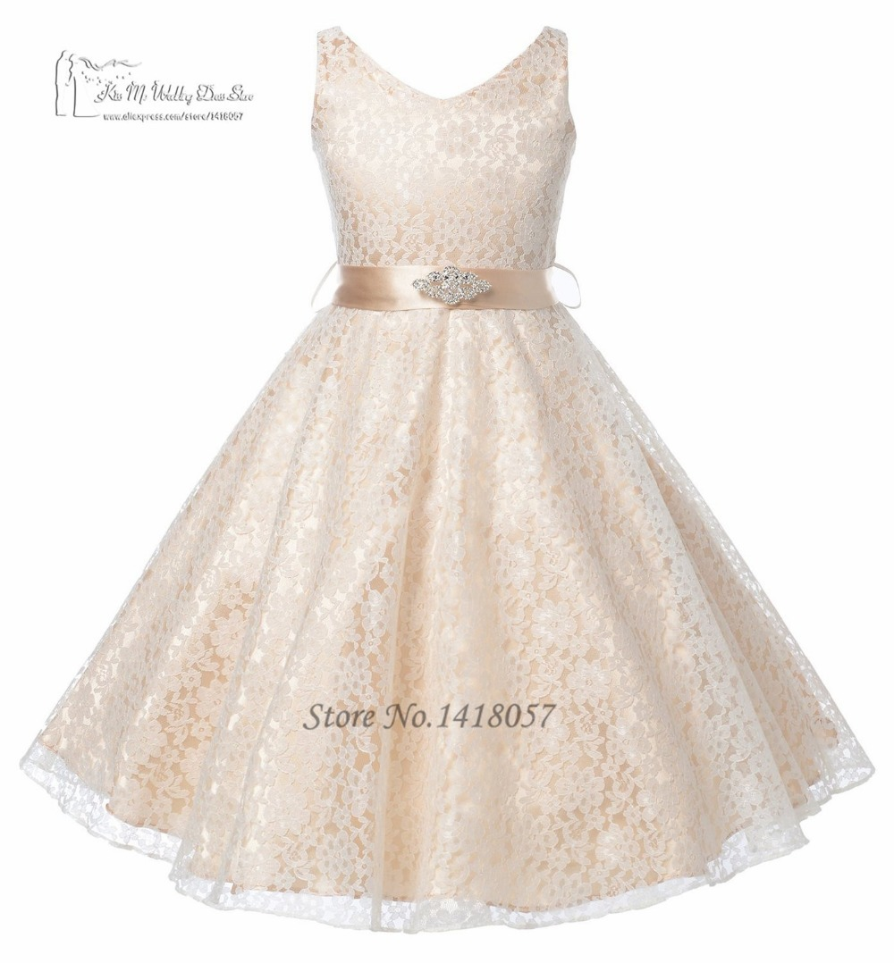③Lovely Pink Champagne Lace Prom Dress Children Girls Pageant ...