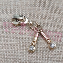 20pcs/lot, Gold 5# Double Rhinestone Sticks Zipper Sliders Luggage/Bags/Clothes Accessories