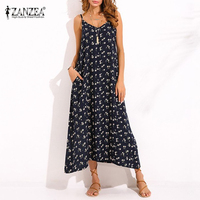 ZANZEA Vintage Women V Neck Spaghetti Strap Sleeveless Summer Beach Dress Boho Maxi Long Dress Sexy