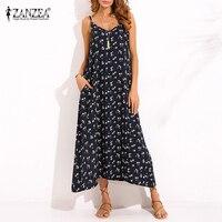 ZANZEA Vintage Women V Neck Spaghetti Strap Sleeveless Summer Beach Dress Boho Maxi Long Dress Sexy
