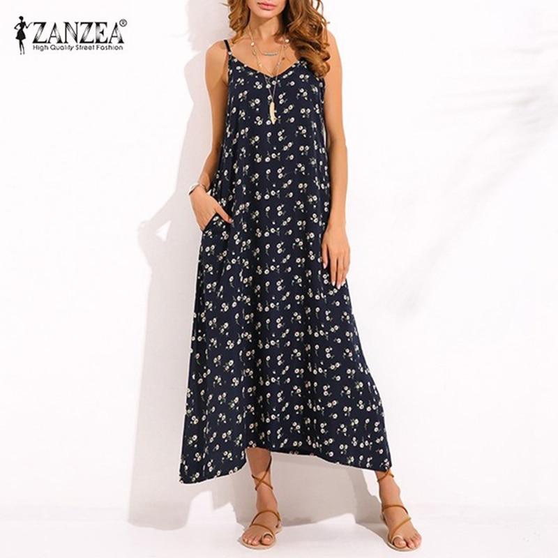 ZANZEA विंटेज महिलाओं वी गर्दन स्पेगेटी पट्टा बिना आस्तीन का ग्रीष्मकालीन समुद्र तट पोशाक मैक्सी लंबी पोशाक सेक्सी Sundest Vestido Oversized