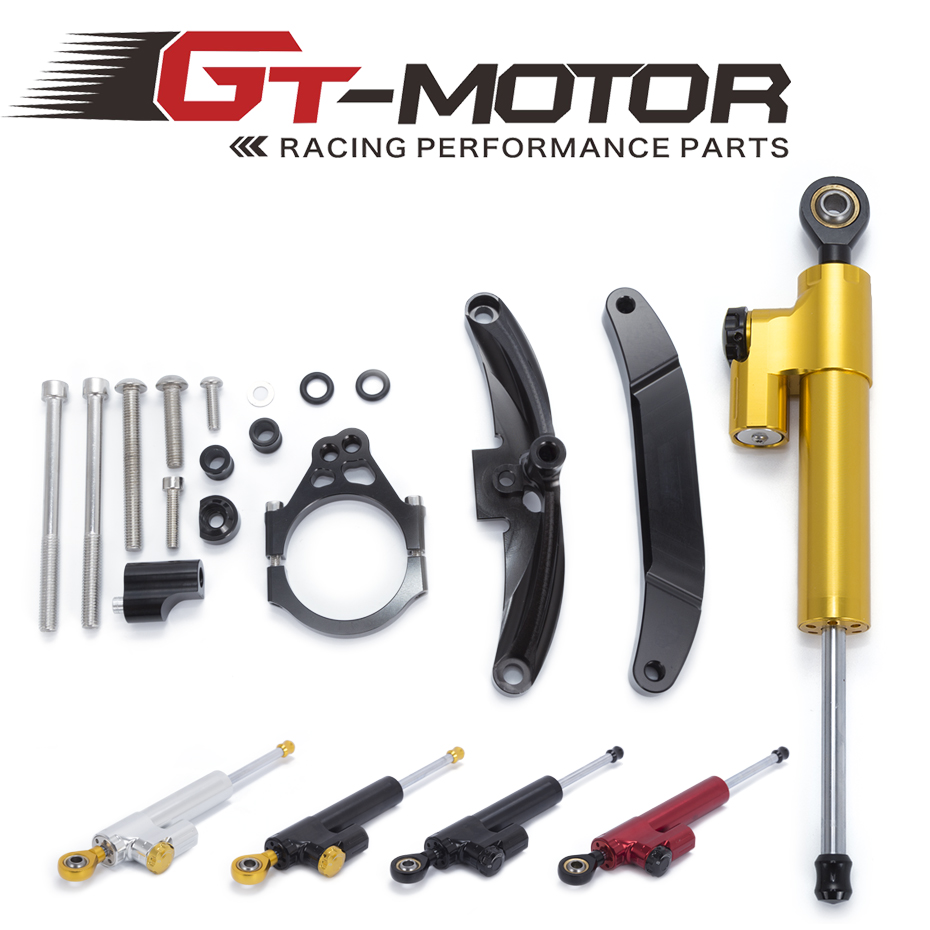 GT Motor - Motorcycle CNC Damper Steering StabilizerLinear Reversed Safety Control+Bracket For Yamaha FZ1 FAZER 2006 2007 08-15