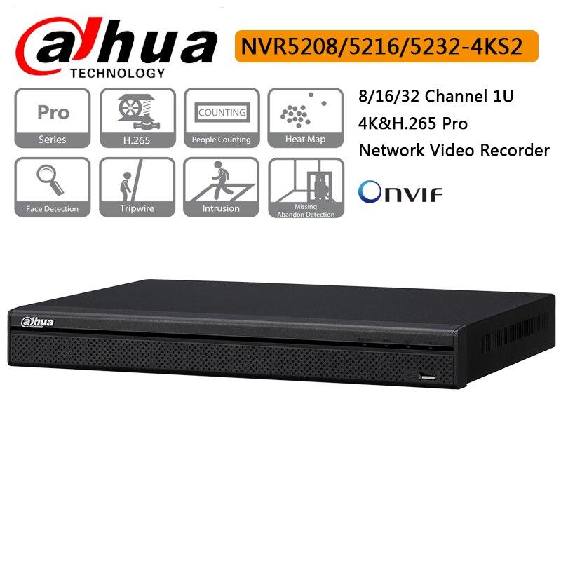 Original Dahua 8CH 16CH 32CH NVR5208-4KS2 NVR5216-4KS2 NVR5232-4KS2 H.265 Pro Network Video Recorder Up to 12MP face detectionOriginal Dahua 8CH 16CH 32CH NVR5208-4KS2 NVR5216-4KS2 NVR5232-4KS2 H.265 Pro Network Video Recorder Up to 12MP face detection