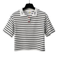 2017 Summer Women Letter Embroidery T Shirt Fashion Striped Design Crop Top Cotton Turndown Collar Red