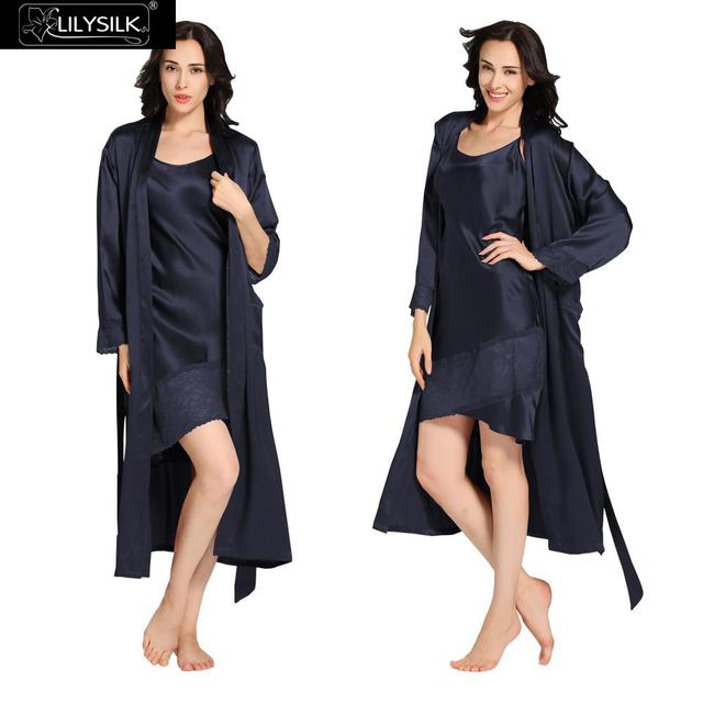 Lilysilk Silk Nightgowns With Robe Set Women Gonws Long Sexy 22 Momme Home Clothes Lingerie Wear Dress Sleepwear Bathrobe