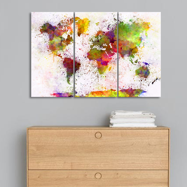 Triptych Abstract World Map Art Print Canvas Painting Modern Wall Watercolor Drawing For Living Room
