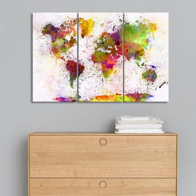 stunning triptyque abstrait carte du monde peinture de. Black Bedroom Furniture Sets. Home Design Ideas