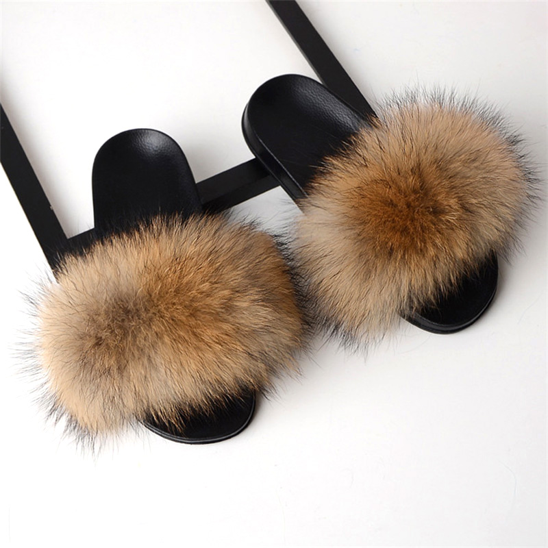 Real Fox Fur Slides 2019 Summer Cute Fluffy Wholesale Bulk Raccoon Fox Slippers Natural Fashion Beach Flats Women Furry Slippers