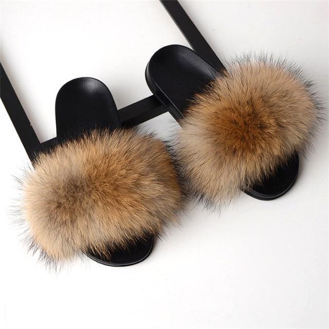 Real Fox Fur Slides 2019 Summer Cute Fluffy Wholesale Bulk Raccoon Fox Slippers Natural Fashion Beach Flats Women Furry Slippers