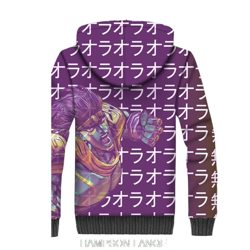 Inverno grosso forro de lã jaquetas casacos de JoJo Bizarre Aventura ... 88590c38950