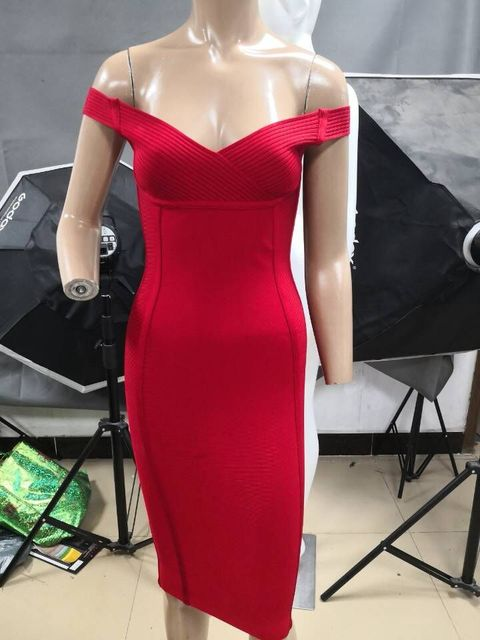 2018 new high quality women dress wholesale red off shoulder bandage dress  party dress dropshipping 2dd2eedd9b34