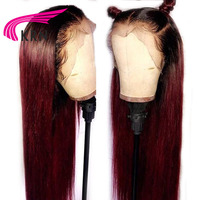 KRN 1B/99J Straight Pre Plucked Lace Front Human Hair Wigs With Baby Hair 13x6 Ombre Remy Hair Glueless Brazilian Wigs