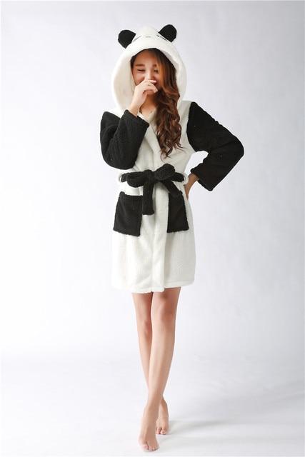 2016 Fashion Flannel Fleece Sexy Leopard bear Women robe Cartoon Hooded Night Dress Sleepwear Long Sleeved Long Nightgown