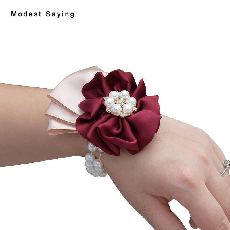 Artificial Rose For Wedding Prom Wedding Wrist Corsages 2017 New Fashion Bridesmaid Sisters Flowers Wedding Party Decorations
