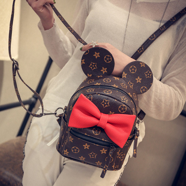 fae068daf83a New Arrival Butterfly Knot Mickey Little Backpack Women s Fashion Europe  And America Retro Bag School Girl s Cute Backpack